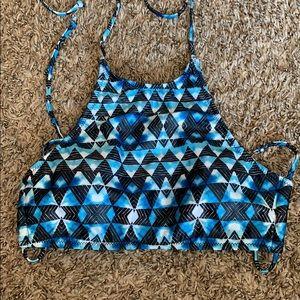 Aeropostale blue high neck swim top
